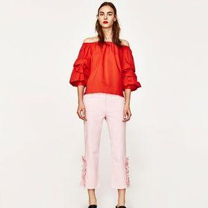 Zara Pink Frilled Hem Cropped Trouser
